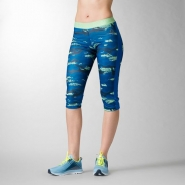 REEBOK Workout Ready Printed Capri - MODRO-ZELENÉ - 19,47 €